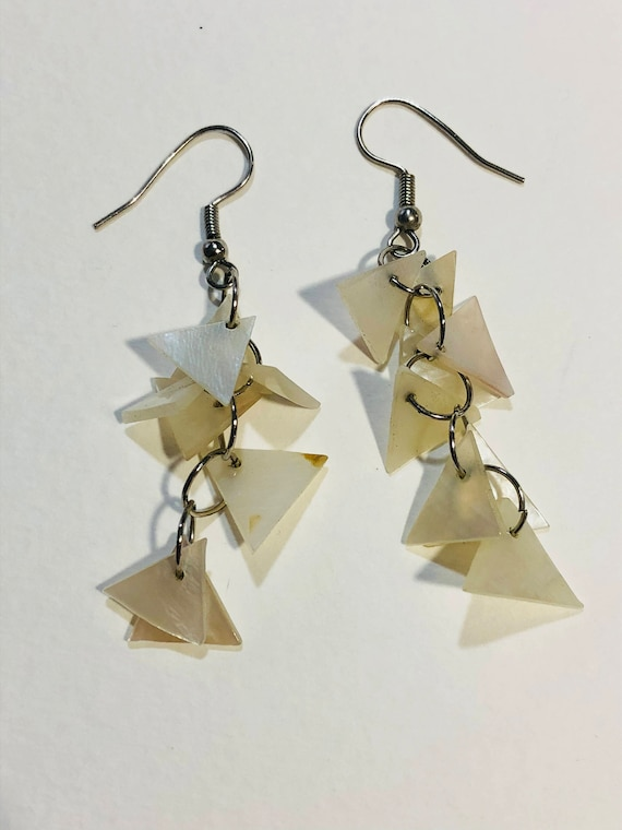 SJC10021 - Dangling white shell triangles silver color earrings