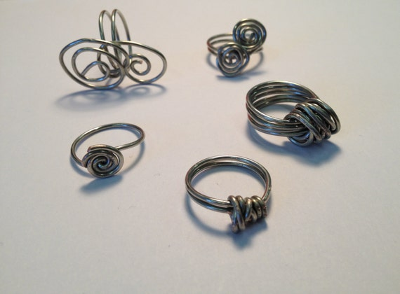 SJC10257 - Silver-plated wire wrapped rings
