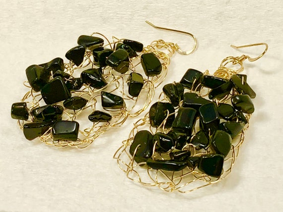 SJC10106 - handcrafted wire earrings, gold crochet earrings, jasper earrings, jasper, unique wire earrings, wire chandelier earrings, black