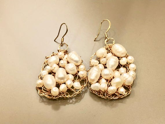 SJC10113 - Handmade 14K gold filled wire crochet earrings with white fresh water pearls