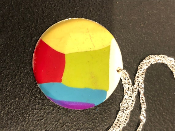 SJC10436 - Handmade round aluminum polymer clay (purple/white/yellow/red/blue/green) pendant necklace with sterling silver chain