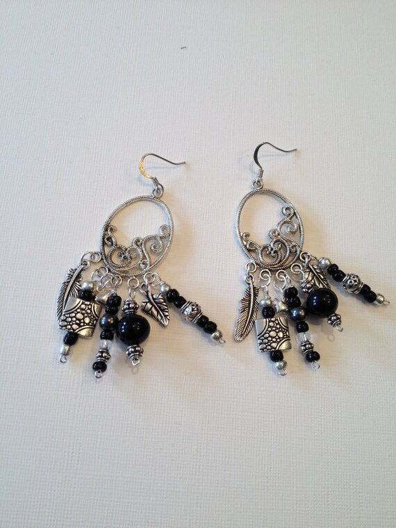 SJC10002 - Black and silver earrings