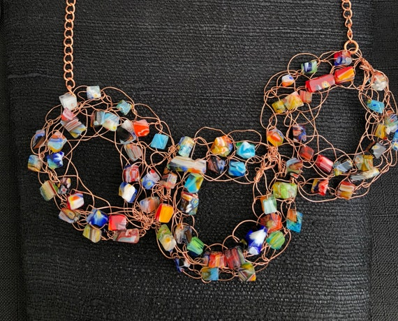 SJC10313 - Necklace - three copper wire crochet rings with multicolor glass beads and copper chain