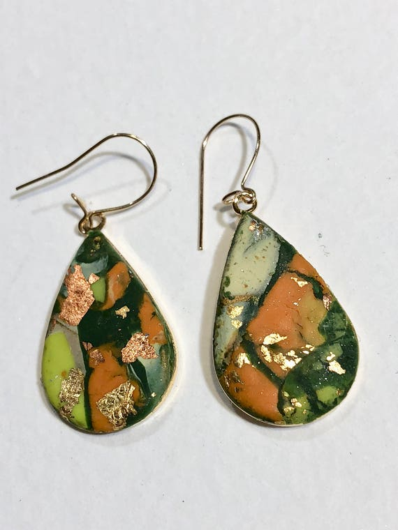 SJC10044 - Earrings - multi color orange green yellow contemporary handmade polymer clay on drop shaped piece with 14 k gold plated ear wire