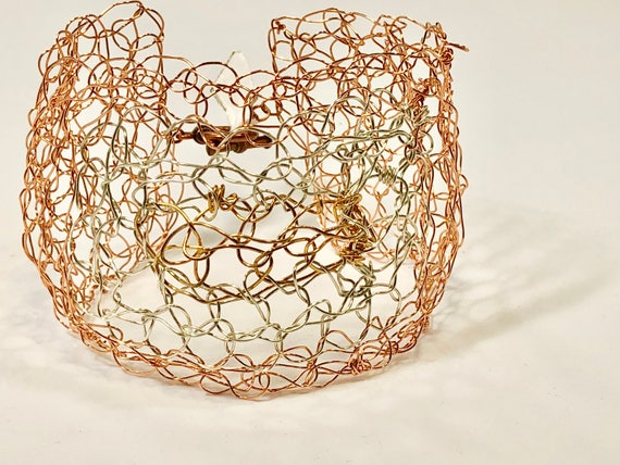 SJC10208 - Handmade tri-color wire Crochet cuff bracelet with copper, silver plated and gold plated wire.