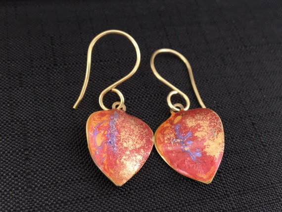 SJC10357 - Handmade leaf-shaped purple red orange gold enamel gold plated earrings with abstract designs