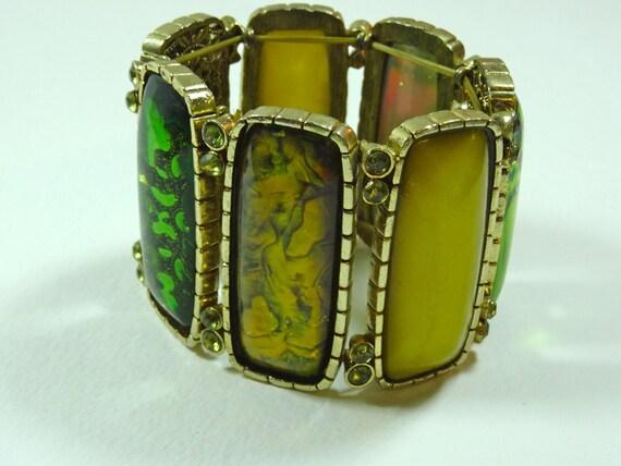 SJC10278 - Vintage - elastic adjustable multi green color Bracelet