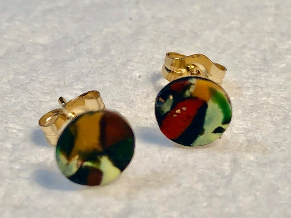 SJC10384 - Earrings - contemporary handmade red/yellow/orange/gold polymer clay 14K Gold filled studs