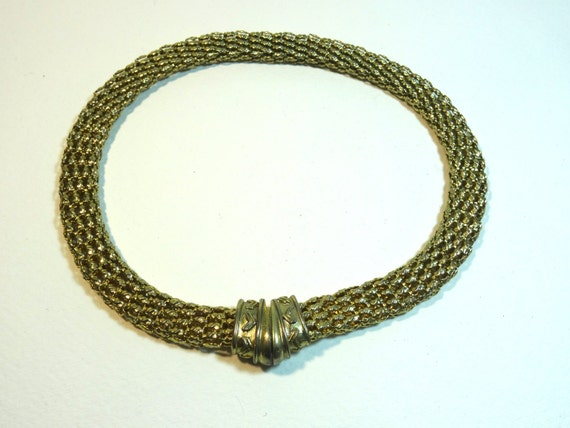 SJC10279 - Vintage - Gold color viking style flat net-like chain Necklace