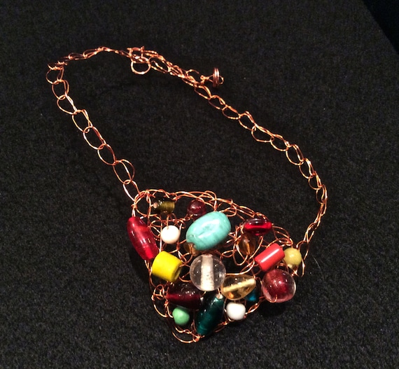 SJC10217 - Handmade wire crochet necklace with multi color glass beads