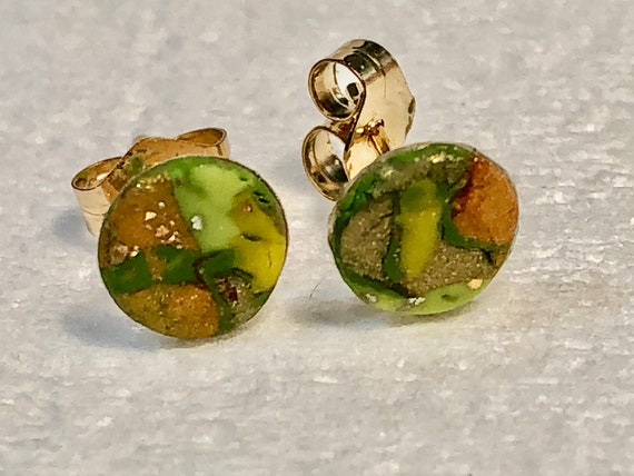 SJC10385 - Earrings - contemporary handmade green/yellow/orange/gold polymer clay 14K Gold filled studs