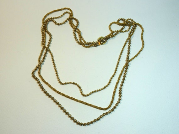 SJC10284 - Vintage gold color multi chain necklace