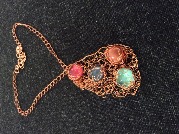 SJC10092 - Handmade glass cabochon wire crochet copper necklace