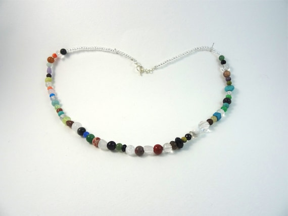SJC10231 - Necklace with multicolor gemstone beads and glass silver lined seed beads