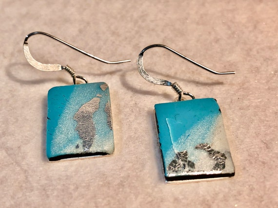 SJC10380- Earrings - multi color blue white contemporary handmade polymer clay - sterling silver rectangular support and ear wire