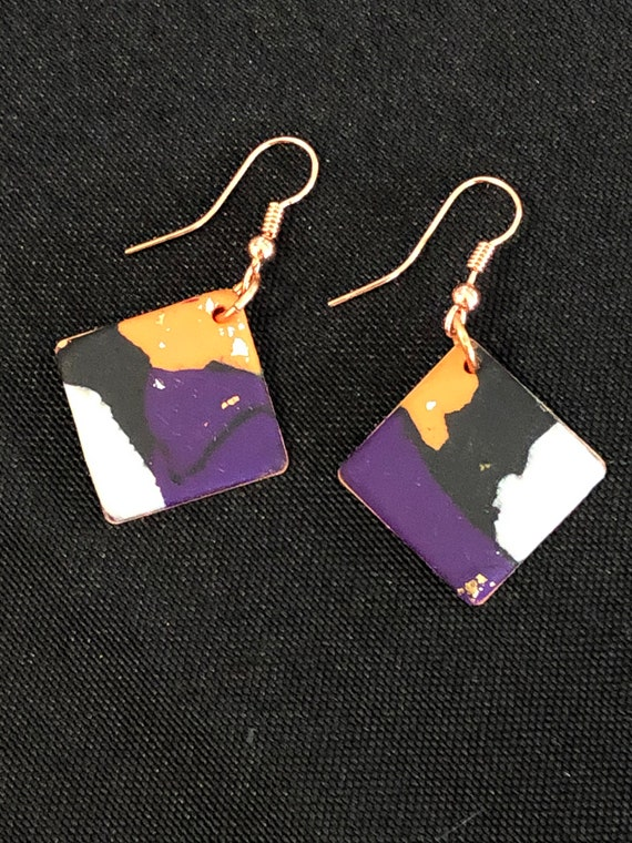 SJC10427 - Earrings - orange black white purple contemporary handmade polymer clay on diamond shaped piece with 14K gold filled ear wire