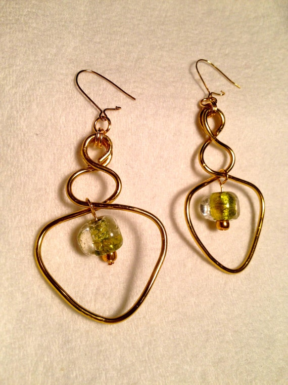SJC10010 - Brass earrings with flattened wire work and clear light green glass beads