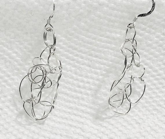 SJC10468 - Handmade organic sterling silver wire crochet earrings