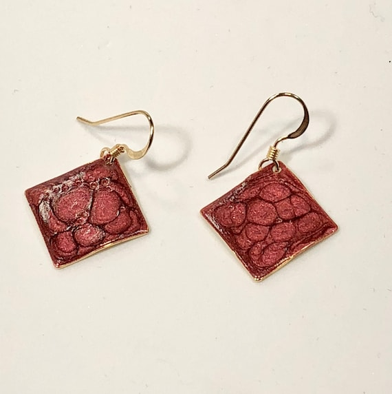 SJC10199 - Handmade small diamond shape red enamel gold plated earrings with abstract designs