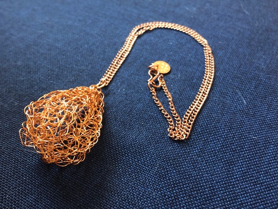 SJC10487 - Handmade copper wire crochet pear shape pendant necklace with copper chain