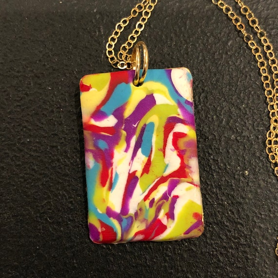 SJC10438 - Handmade green/orange/yellow/blue/purple/white polymer clay rectangular contemporary pendant necklace with 14K gold filled chain