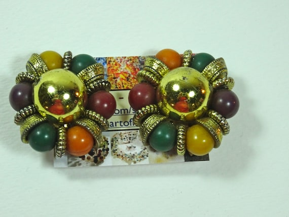 SJC10017 - Clasp Vintage earrings - orange, green, purple, yellow, gold