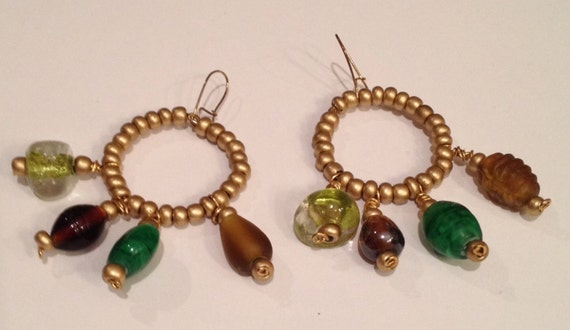 SJC10066 - Fall colors beaded earrings with golden, wood, metal and glass ceramic beads.