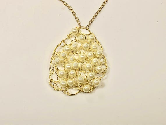 SJC10130 - Handmade brass artistic craft wire crochet necklace with white pearls