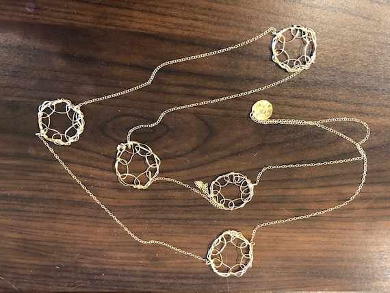 SJC10478 - Handmade 5-ring 14K Gold filled wire crochet necklace with 14K gold filled chain