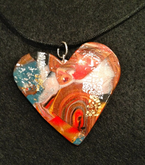 Handmade necklace with contemporary multicolor polymer clay heart pendant and black satin ruban..