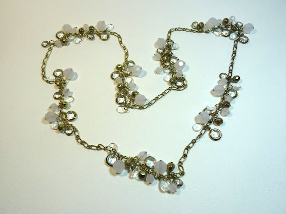SJC10283 - Vintage gold color clear white charm long chain necklace