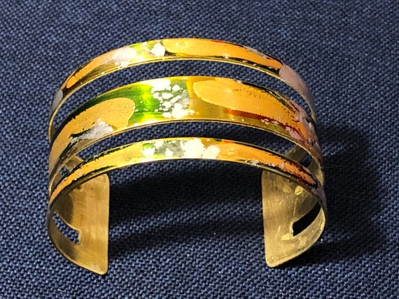SJC10510 - Enamel painted brass cuff open bracelet with abstract design (green/gold/orange)