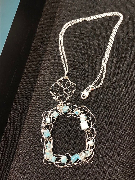 SJC10322 - Pendant Necklace - Sterling silver wire crochet squares with and without light blue glass beads and sterling silver chain