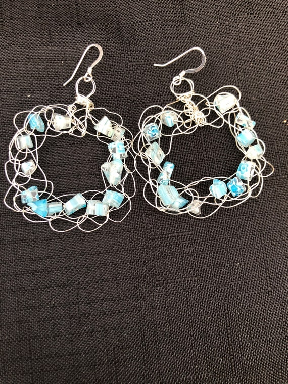 SJC10324 - Earrings -  Sterling silver wire crochet square with light blue glass beads and sterling silver ear wires