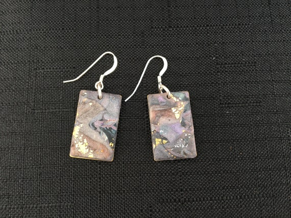 SJC10341 - Earrings - gray/purple/brown/gold contemporary handmade polymer clay on rectangular piece with sterling silver ear wires