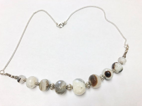 SJC10370 - Handmade black & white quartzite gemstone beaded necklace with silver beads and sterling silver chain