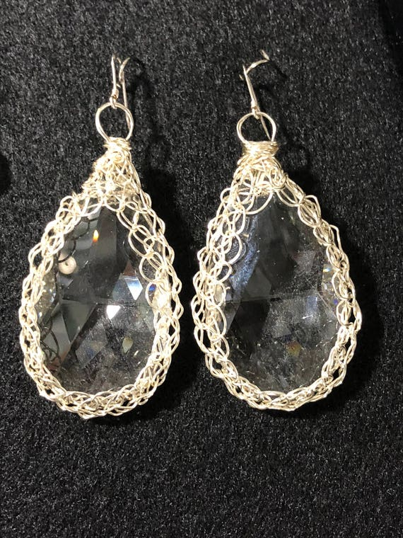 SJC10210 - Handmade unique Drop Earrings - Large sterling silver wire crochet bezel with recycled clear chandelier crystal prism
