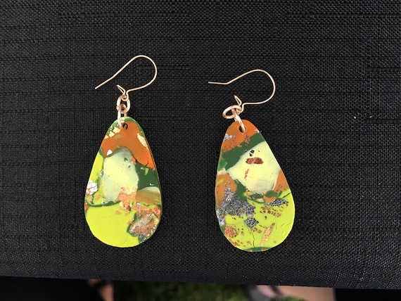 SJC10339 - Earrings - multi color orange green yellow contemporary handmade polymer clay on drop shaped piece with 14 k gold filled ear wire