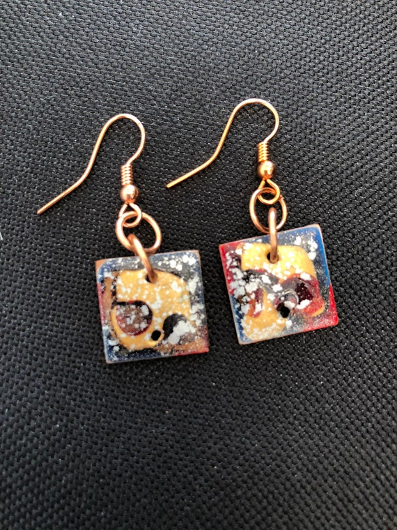 SJC10347 - Handmade square blue red gold enamel copper earrings with abstract designs