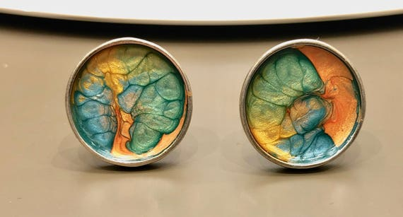 SJC10024 - Cufflinks - contemporary handmade blue/green/orange enamel painted sterling silver cufflinks