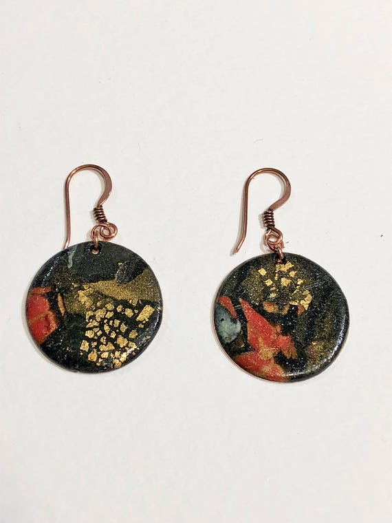SJC10043 - Earrings - multi color contemporary handmade polymer clay on round shaped gold plated piece with 14 k gold plated ear wire