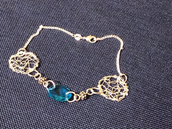 SJC10497 - Bracelet - sterling silver round wire crochet designs with chandelier blue crystal prism and sterling silver beads
