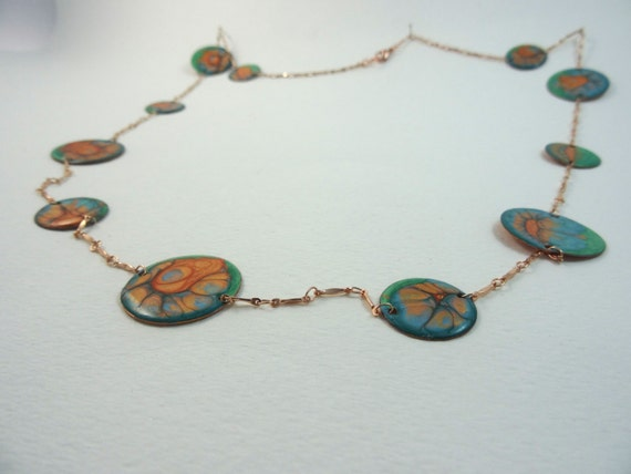 SJC10314 - Enamel-like necklace with abstract design (multi-colors) and copper chain.
