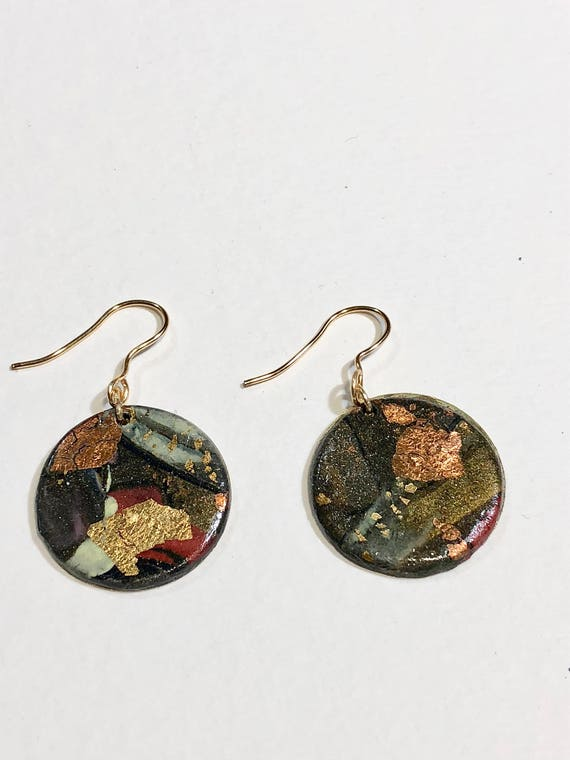 SJC10182 - Handmade round polymer clay earrings with abstract designs (multi-colors)