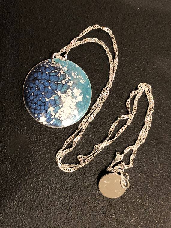 SJC10447 - Handmade round silver plated enamel painted (blue/turquoise/silver) pendant abstract necklace with sterling silver chain.