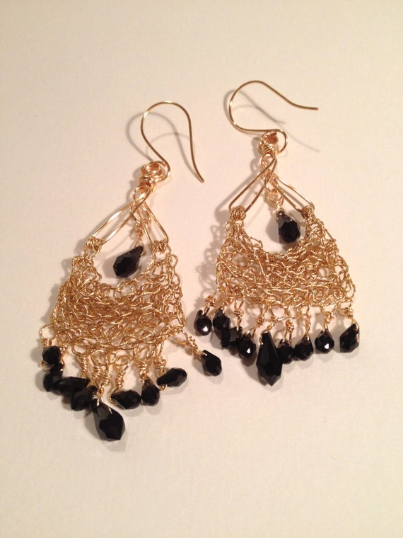 SJC10087 - Handmade eastern-look 14k gold-filled long wire crochet earrings with black Swarovski crystal drops