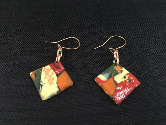 SJC10336 - Earrings - red/orange/yellow/green contemporary handmade polymer clay on diamond shaped piece with 14K gold plated ear wires