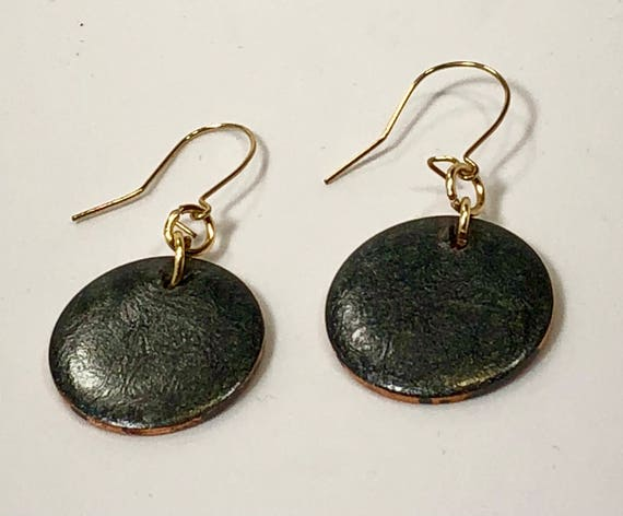 SJC10178 - Handmade round black/gray enamel gold filled earrings with abstract designs