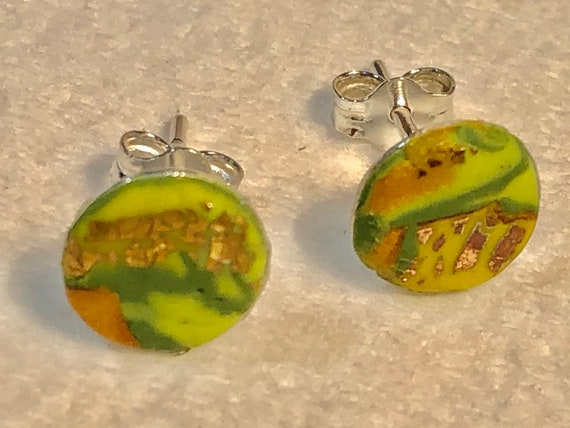 SJC10386 - Earrings - contemporary handmade green/yellow/orange/gold polymer clay sterling silver studs