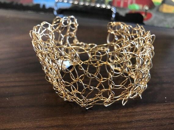 SJC10473 - Handmade sterling 14K gold filled wire Crochet cuff bracelet